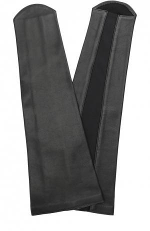 Кожаные перчатки-манжеты без пальцев Agnelle. Цвет: черный