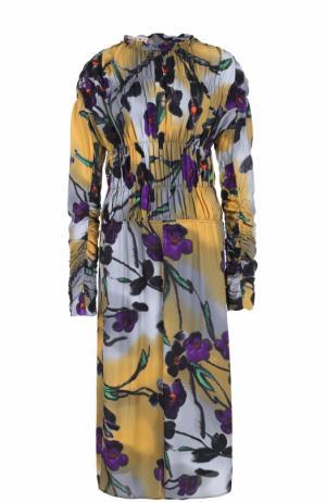 Платье-миди с цветочным принтом и драпировкой Marni. Цвет: серый