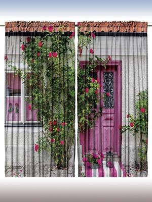 Фотошторы Старинный город, 290*265 см Magic Lady. Цвет: серый, розовый, зеленый