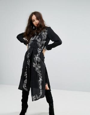 Honey Punch Куртка макси с высоким воротом и вышивкой. Цвет: черный