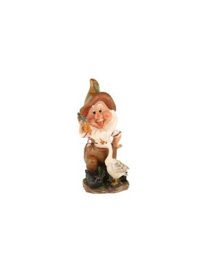 Фигура  Гном с гусем Коралл. Цвет: белый, коричневый