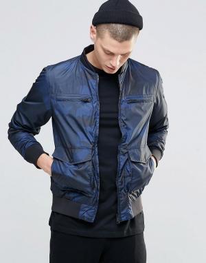 N1SQ Куртка-пилот с камуфляжным принтом. Цвет: темно-синий