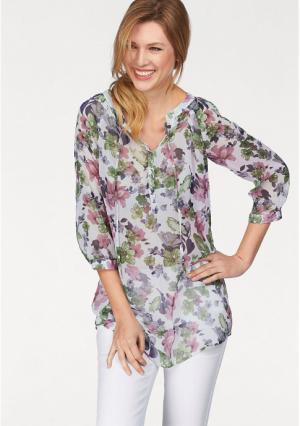 Удлиненная блузка CHEER. Цвет: оливково-зеленый/белый/розовый/синий с рисунком