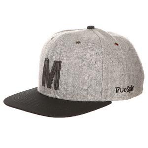 Бейсболка с прямым козырьком  Abc Snapback Dark Grey/Black Leather-m TrueSpin. Цвет: серый,черный