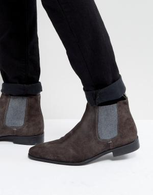 Dune Темно-серые замшевые ботинки челси. Цвет: серый