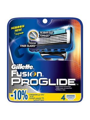 Сменные кассеты для бритья FUSION PROGLIDE, 4 шт. GILLETTE. Цвет: синий