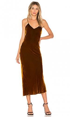Макси платье cobain DE LA VALI. Цвет: горчичный