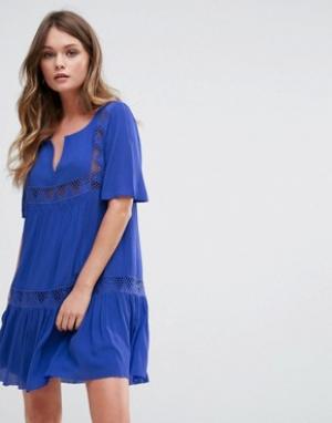 BA&SH Свободное платье. Цвет: синий