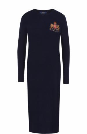 Платье-миди из смеси шерсти и кашемира с длинным рукавом Polo Ralph Lauren. Цвет: темно-синий