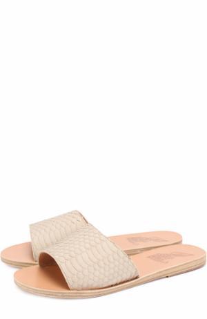 Кожаные шлепанцы Taygete с тиснением Ancient Greek Sandals. Цвет: бежевый