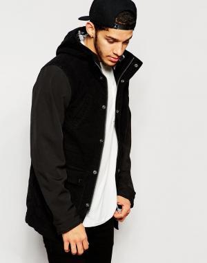 Izzue Молескиновое пальто с капюшоном. Цвет: черный