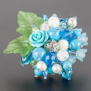 Брошь Флоренсия самоцветы, пластик, арт. бшС-2915 Бусики-Колечки. Цвет: голубой