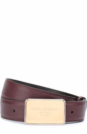 Кожаный ремень с металлической пряжкой Dolce & Gabbana. Цвет: бордовый