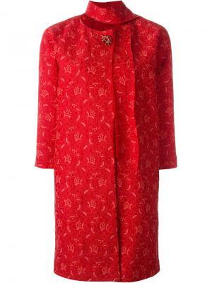 Пальто с золотистой брошкой Ermanno Scervino. Цвет: красный