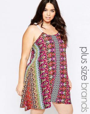 Diya Платье с бретельками кроше Plus. Цвет: мульти