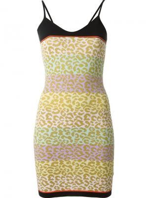 Леопардовое платье в полоску Sibling. Цвет: многоцветный