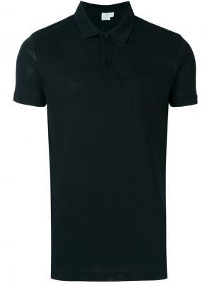 Классическая футболка-поло Sunspel. Цвет: чёрный