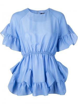 Блузка с оборками Goen.J. Цвет: синий