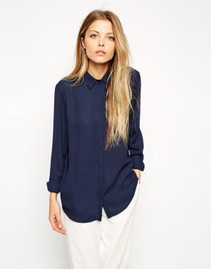 ASOS Мягкая рубашка DESIGN. Цвет: синий