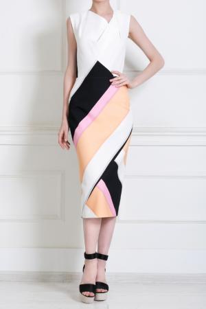 Шелковое платье Roland Mouret. Цвет: белый, черный, розовый, персиковый