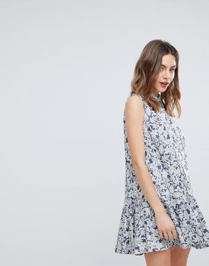 Deby Debo Платье-рубашка с цветочным принтом July. Цвет: синий