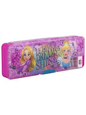 Пенал жесткий с точилками Disney Princess. Цвет: голубой, розовый