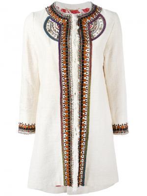 Пальто с декоративной отделкой Bazar Deluxe. Цвет: телесный