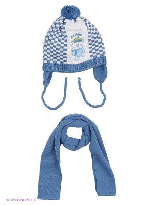 Шапка и шарф Grans. Цвет: индиго