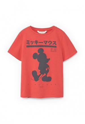 Футболка Mango Kids. Цвет: красный