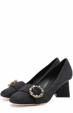 Парчовые туфли на фигурном каблуке Dolce & Gabbana. Цвет: черный