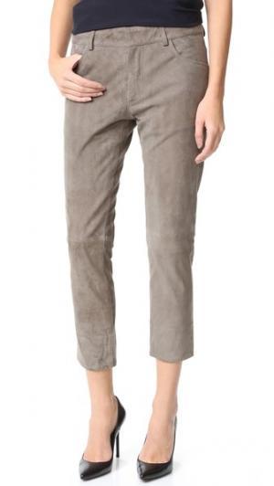 Замшевые брюки-бойфренды Michelle Mason. Цвет: замша оливкового цвета