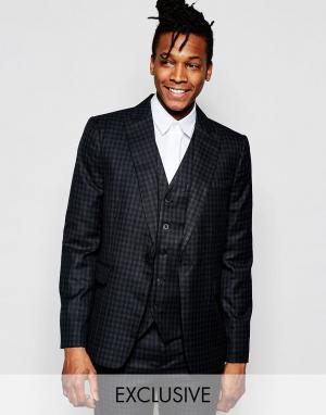 Rogues of London Облегающий пиджак в клеточку эксклюзивно от. Цвет: черный