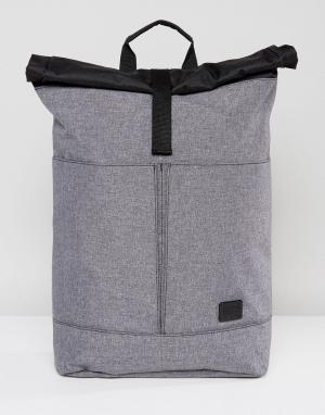 Spiral Серый рюкзак с подворачивающимся верхним клапаном. Цвет: серый
