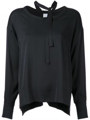 Блузка с завязками на шее Cityshop. Цвет: чёрный