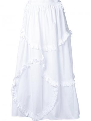Юбка в стиле пэчворк с оборками Tsumori Chisato. Цвет: белый