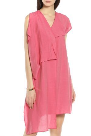 Элегантное легкое платье с V-образным вырезом Oblique. Цвет: темный-розовый