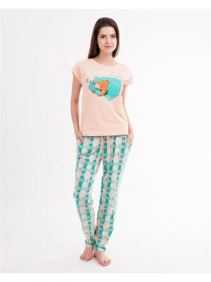 Комплект одежды: футболка, брюки Mark Formelle. Цвет: бирюзовый, персиковый
