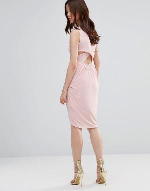 Wal G Платье с драпировкой и перекрестными планками сзади. Цвет: розовый