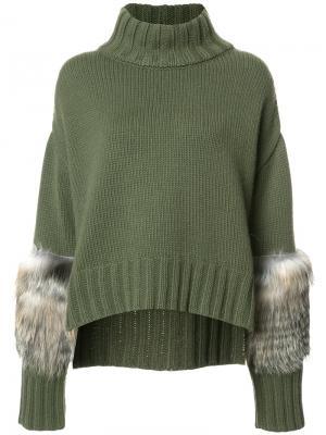 Faux fur panel sleeves sweater Sally Lapointe. Цвет: зелёный