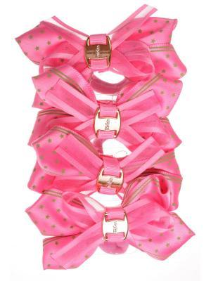 Резинки бантики со звездочкой, розовый, набор 4 шт Радужки. Цвет: розовый