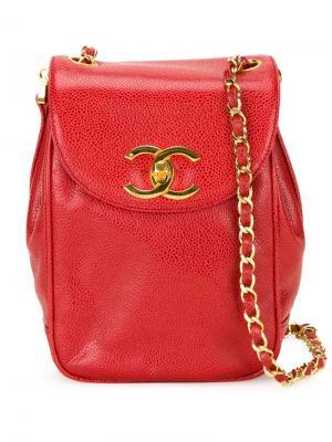 Сумка через плечо с откидным клапаном Chanel Vintage. Цвет: красный