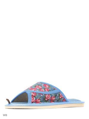 Тапочки DOMINO. Цвет: голубой