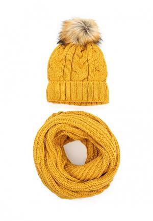 Комплект снуд и шапка Fete. Цвет: желтый
