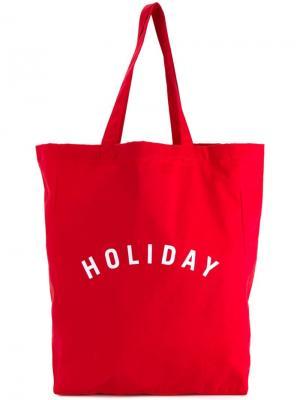 Сумка-тоут с принтом-логотипом Holiday. Цвет: красный