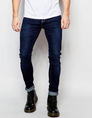 D.I.E Супероблегающие темные потертые джинсы . Smoke. Цвет: синий