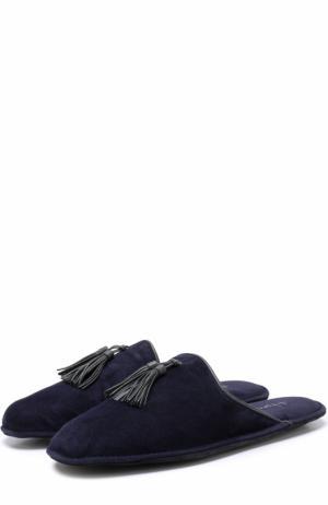 Домашние замшевые туфли с кисточками Homers At Home. Цвет: темно-синий
