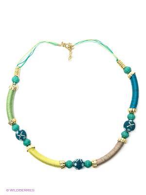 Ожерелье ГАНГ. Цвет: синий, салатовый
