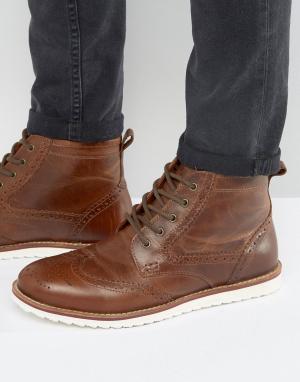 Red Tape Светло-коричневые кожаные ботинки броги. Цвет: рыжий