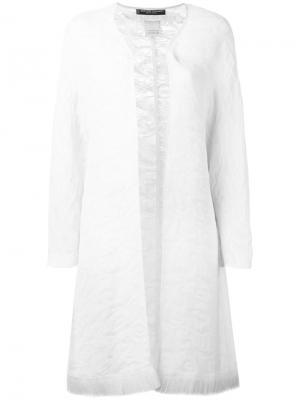 Пальто с бахромой на подоле Jean Louis Scherrer Vintage. Цвет: белый