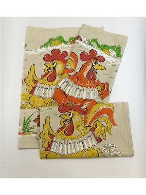 Набор-полотенец, 3 шт A and C Collection. Цвет: бежевый, желтый, белый